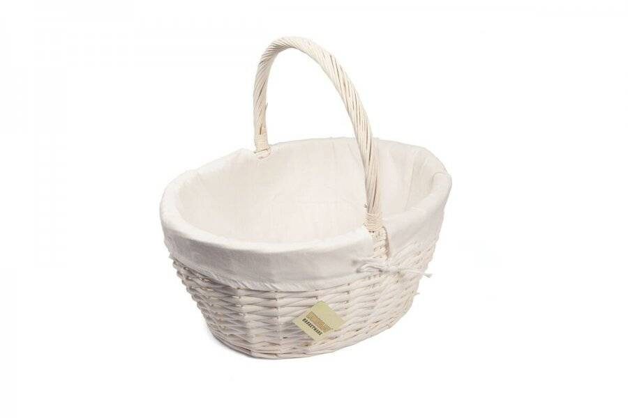 Woodluv Small Oval Wicker Storage Basket With Lining & Long Handle- White