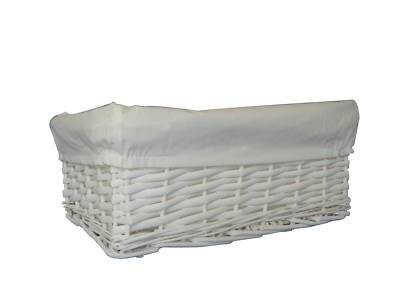 Woodluv Small White Wicker Storage Basket With White Removable Lining