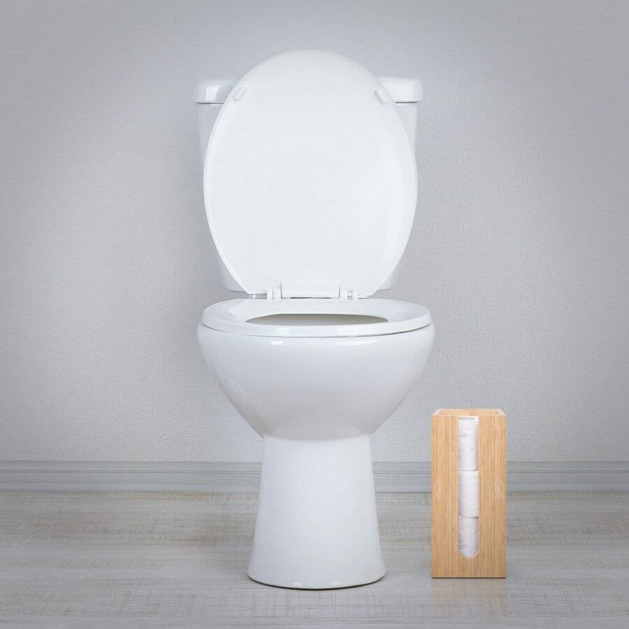 Woodluv Space Saving Bamboo Wood Toilet RollHolder Unit