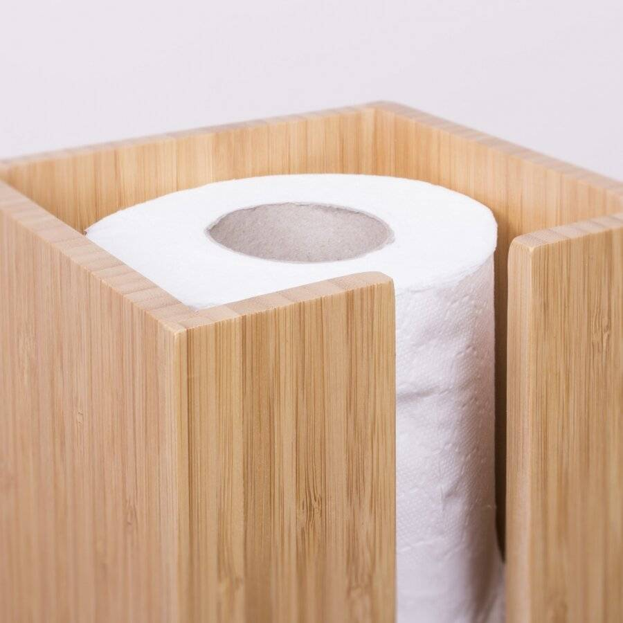 Woodluv Space Saving Bamboo Wood Toilet Roll Holder Unit