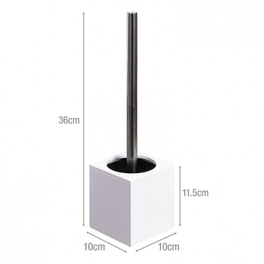 Woodluv Square Bamboo Bathroom Toilet Brush With Brush Holder - White