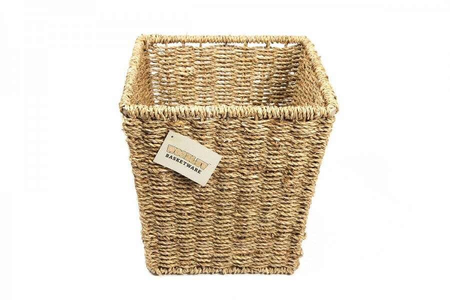 Woodluv Square Handwoven Natural Seagrass Waste Paper Bin