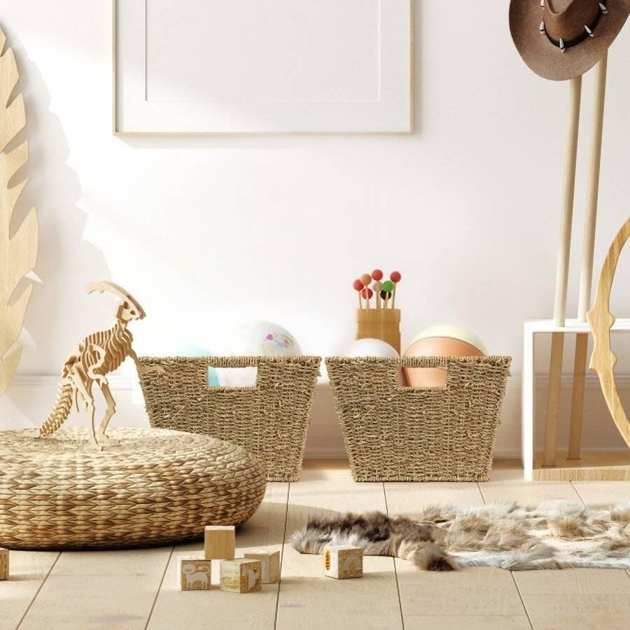 Woodluv Two Large Handmade Seagrass Shelf Storage Hamper