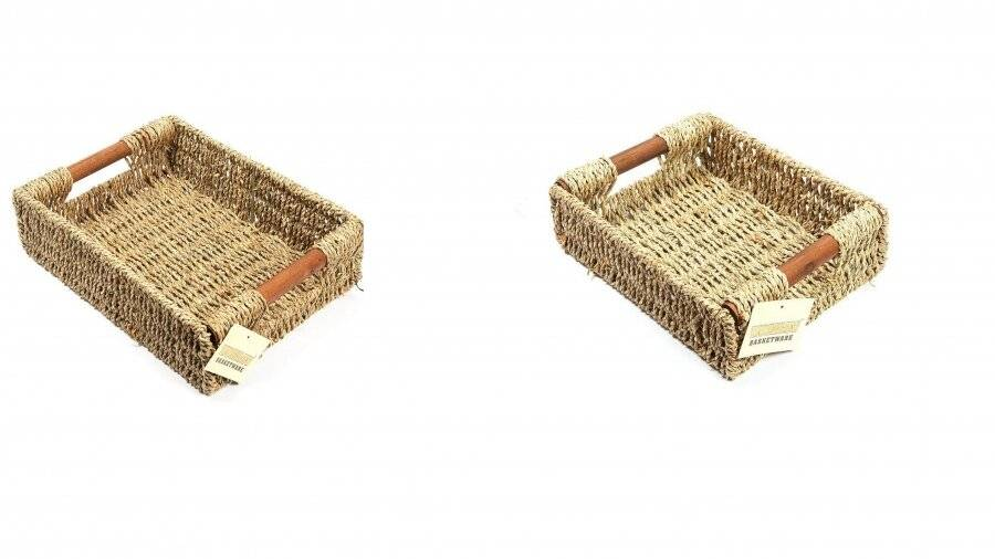 Woodluv 2 Seagrass Storage Baskets With Wooden Handles, Small & Medium