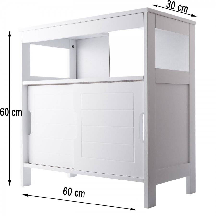 Woodluv Under Sink MDF  Bathroom Storage Cabinet With Shutter - White