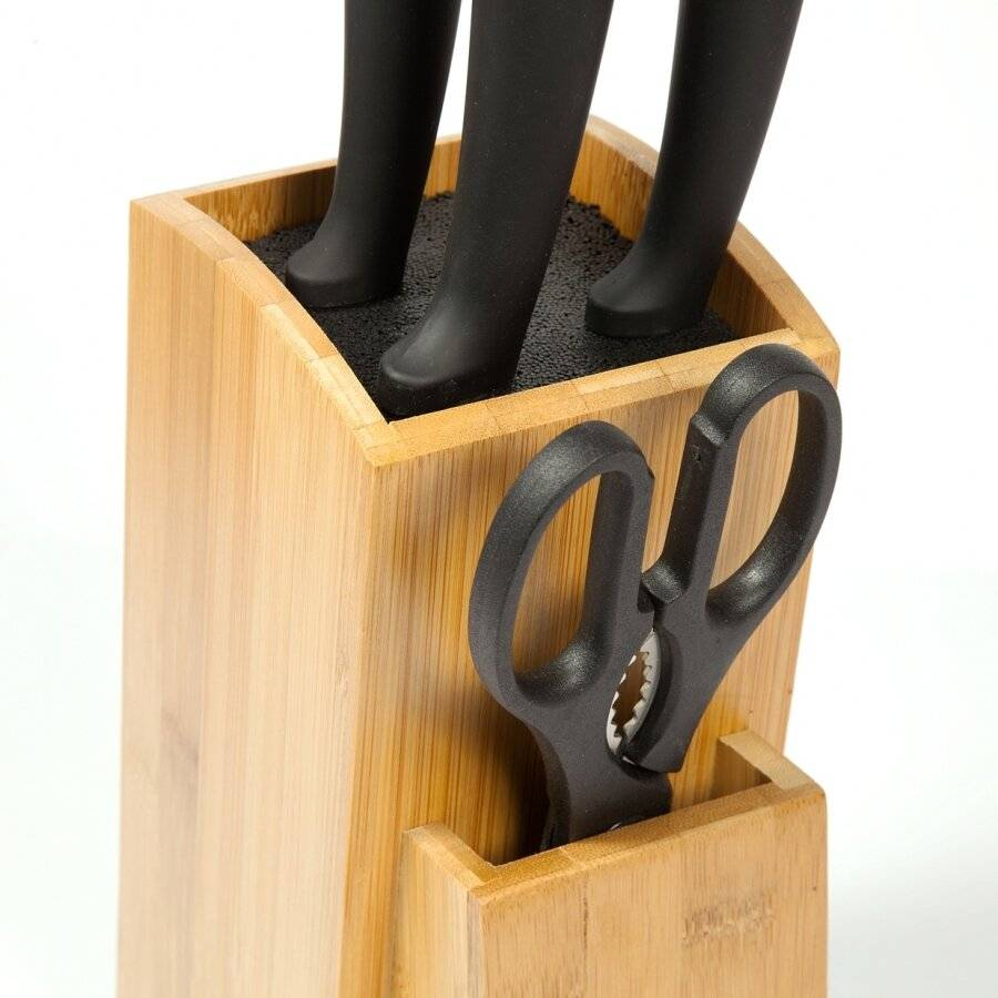 Woodluv Universal Natural BambooWood Knife Block Unit