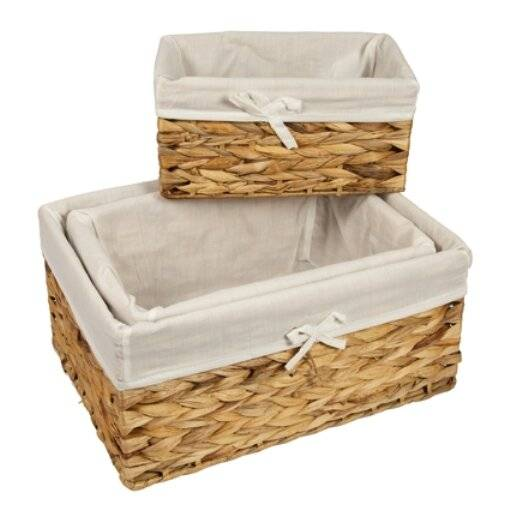 Woodluv Water Hyacinth Shelf Storage Basket With Lining - Large