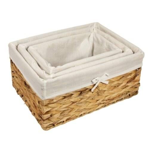 Woodluv Water Haycinth Shelf Storage Basket With Lining, Medium