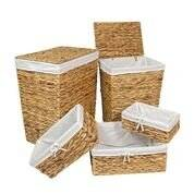 Woodluv Water Hyacinth Shelf Storage Basket With Lining - Small
