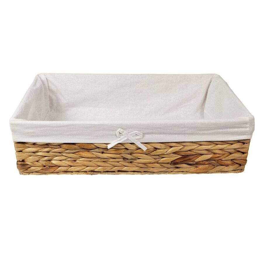 Woodluv Water Hyacinth Under Bed Storage Basket With Lining
