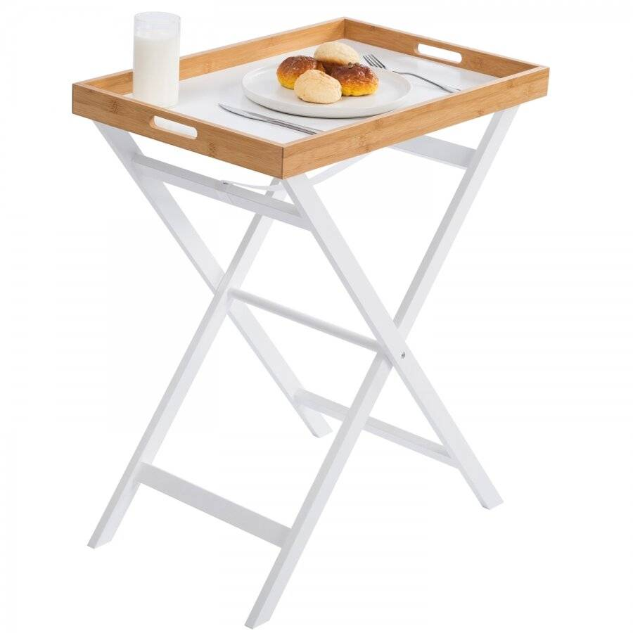 White Bamboo Foldable Butler Tray Table - With Removable Tray