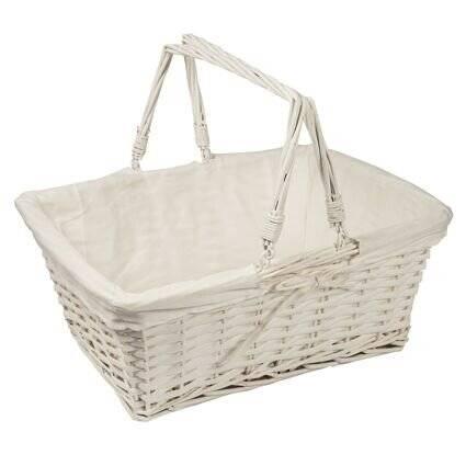 Woodluv White Rectangular Wicker Storage Basket With Handle - Large