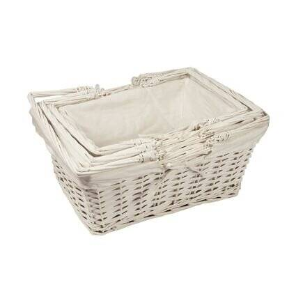 Woodluv White Rect Wicker Hamper Storage Gift Basket With Handle, Small