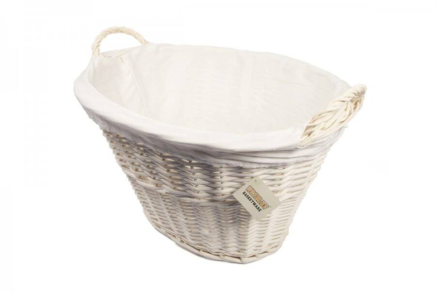 Woodluv Willow Oval Laundry Basket With Handle & Liner - White