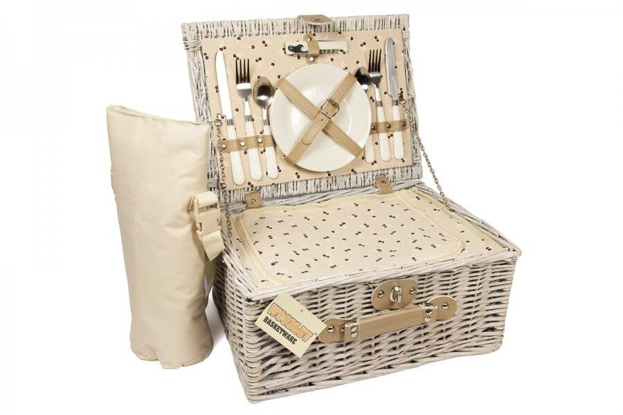 Woodluv Picnic Basket With Cooler Compartment & Bottle Cooler Bag