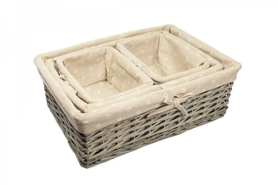 Woodluv Wicker  Set Of 4 Rustic Storage Baskets, Daisy Printed Lining