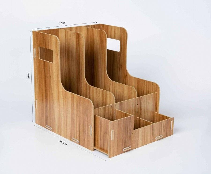 Woodluv Wooden Multifunctional Office Stationery Organizer