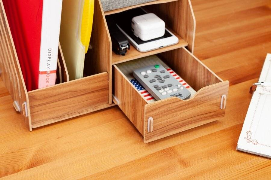 Woodluv Wooden Multifunctional Square Makeup or Stationery Organizer