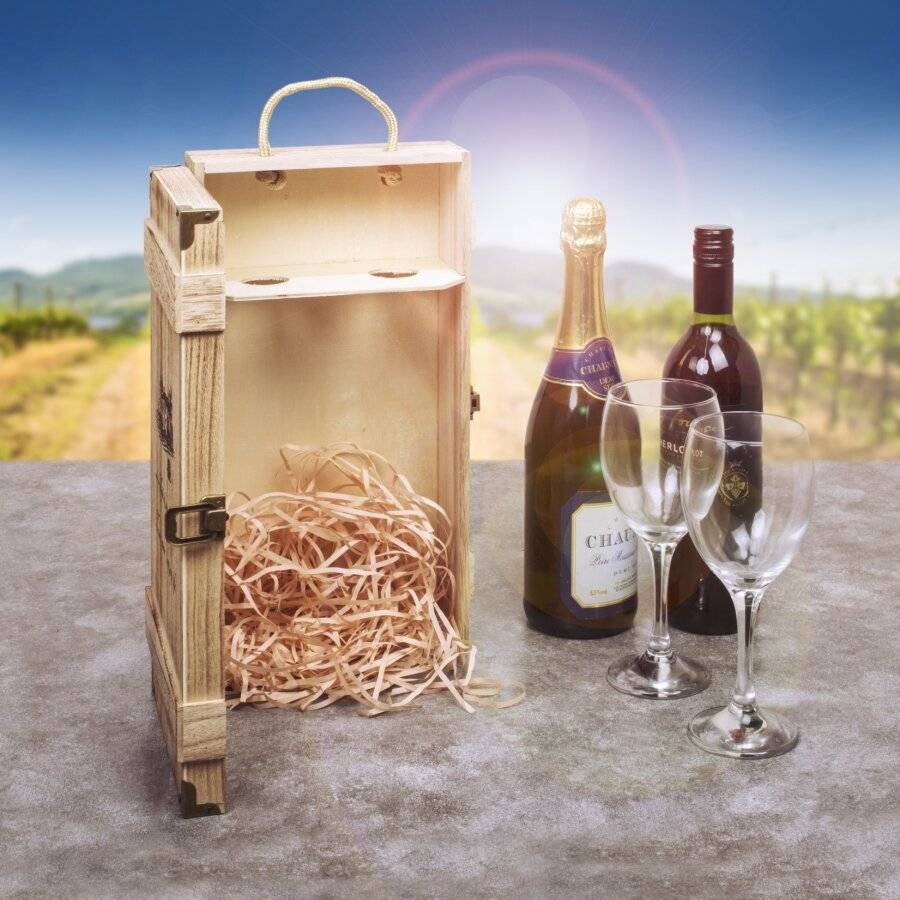 Woodluv Wooden Vintage Single Wine  Bottle Gift Box With Handle
