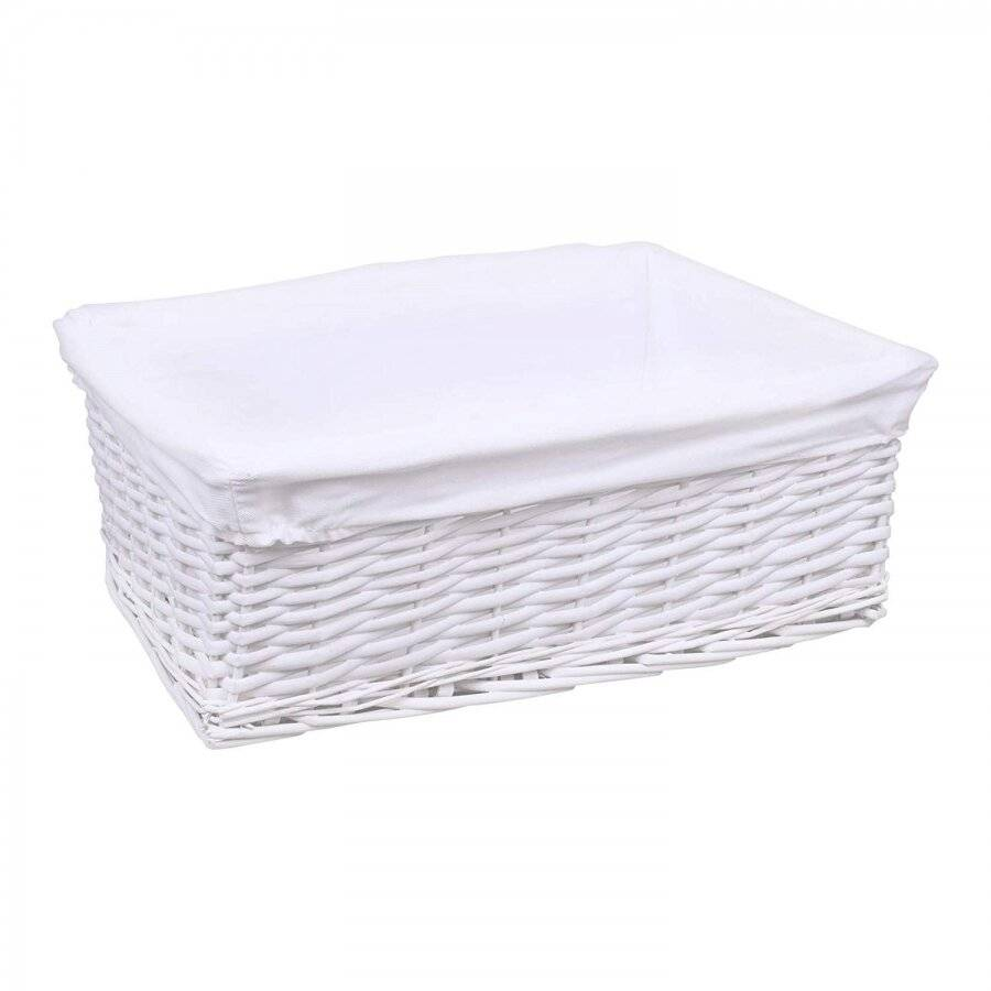 WoodluvMedium White Wicker Storage Basket With White Removable Lining
