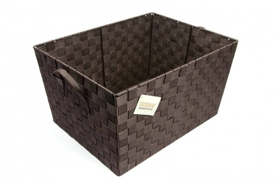 EHC Woven Large Storage Basket With Carry Handles, Brown