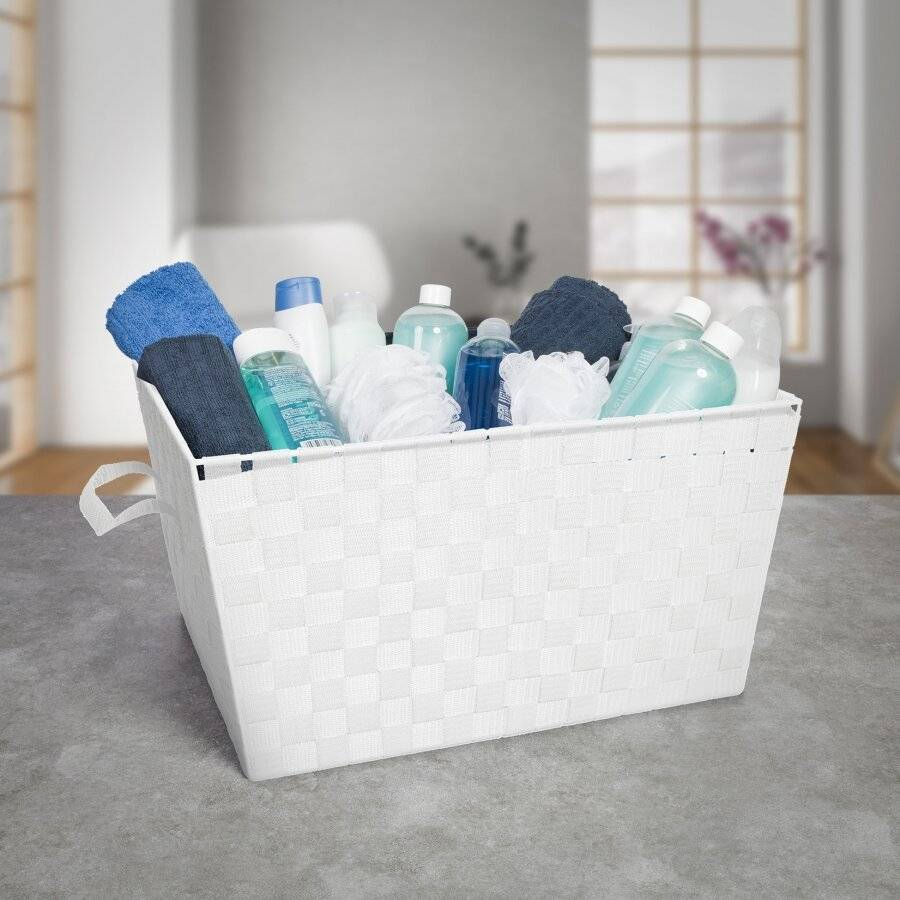 EHC Woven Large Storage Basket With Carry Handles, White