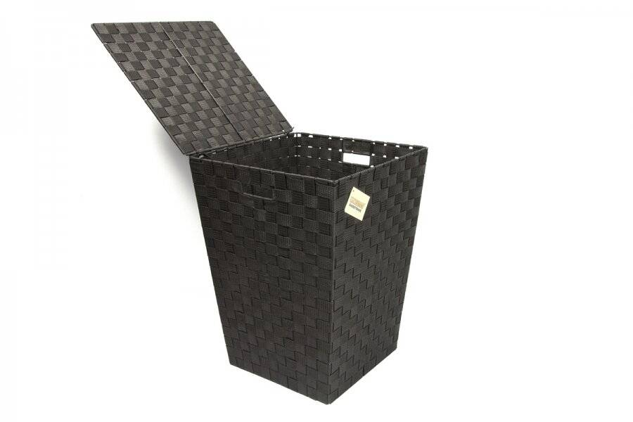 Woven Pattern Laundry  Storage Hamper Basket With Lid, Black