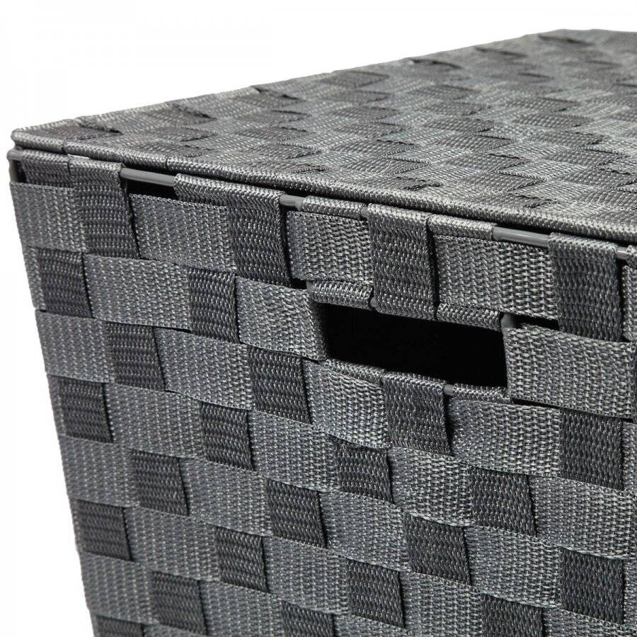 Woven Pattern Laundry Storage Hamper Basket With Lid, Grey