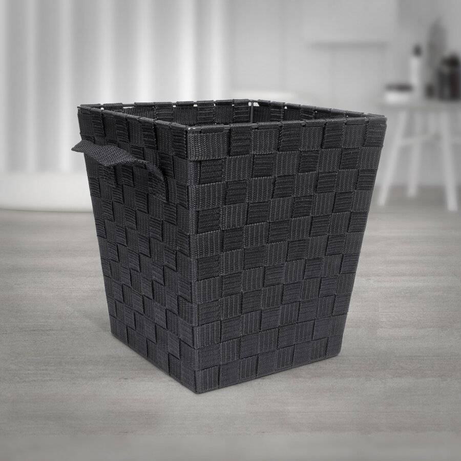 EHC Woven Waste Paper Bin Basket With Hollow Handle - Black