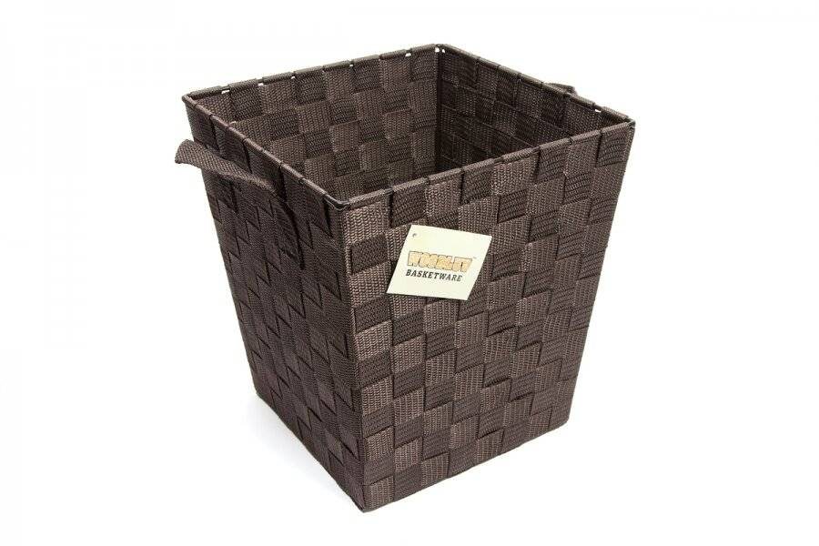 EHC Woven Waste Paper Bin Basket With Hollow Handle - Brown