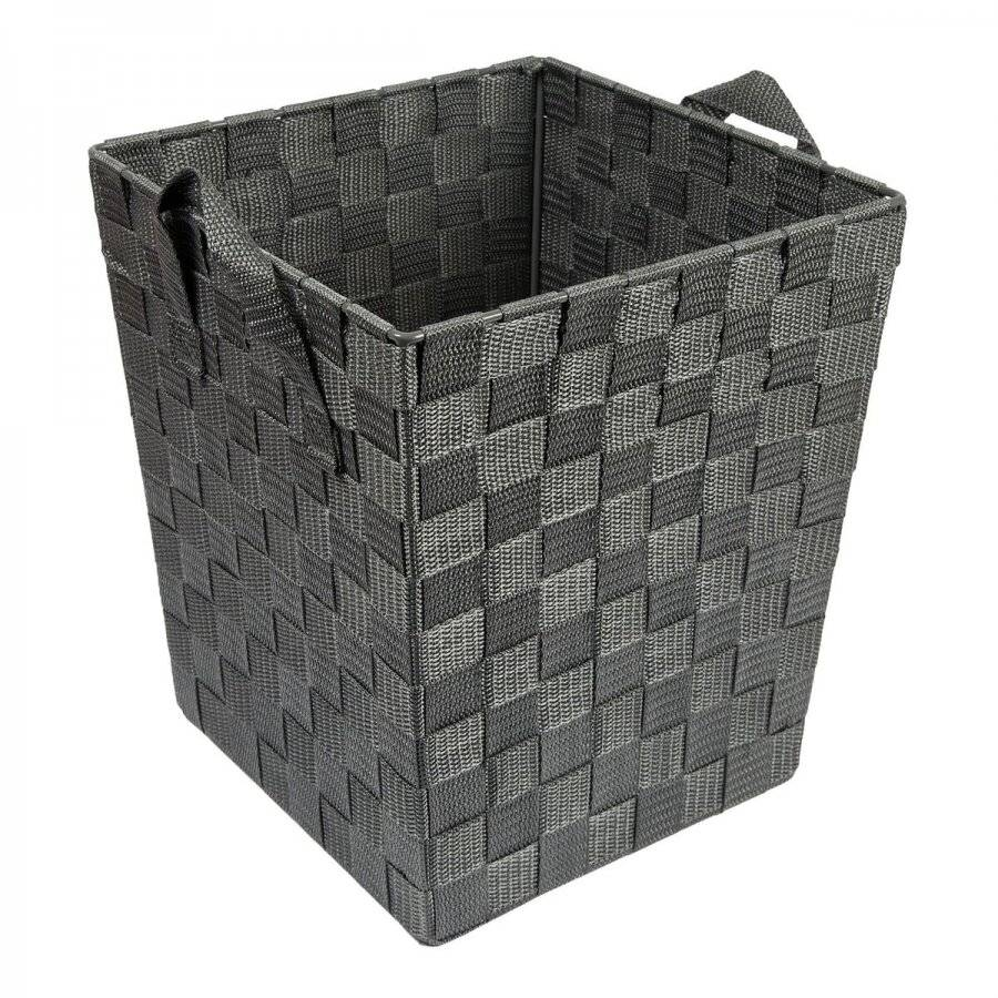EHC Woven Square Waste Paper Bin With Strap Handles - Grey