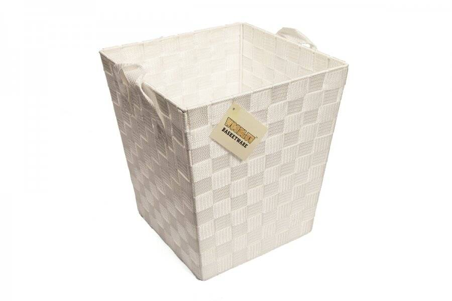 Woven Waste Paper Bin Basket With Hollow Handle, White