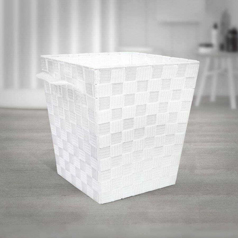 EHC Woven Waste Paper Bin Basket With Hollow Handle - White