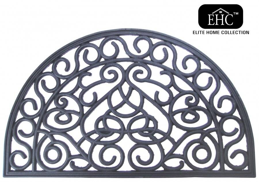 Wrought Effect Anti Slip Half Moon Double sided Rubber Door Mat -Large