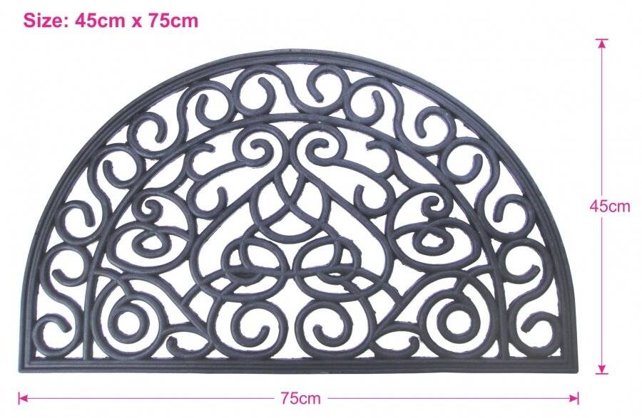 Wrought Effect Anti Slip Large Half Moon, Double Sided Door Mat